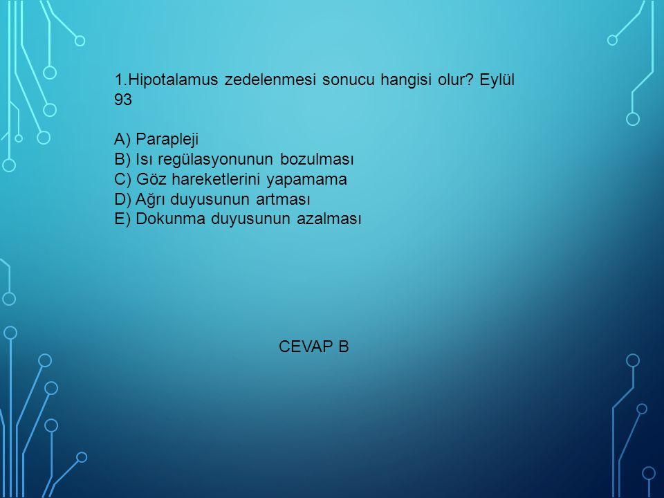 1. Hipotalamus zedelenmesi sonucu hangisi olur