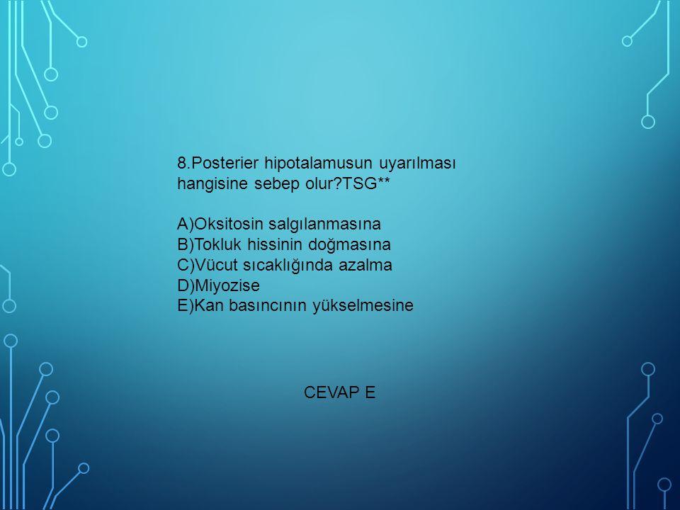 8. Posterier hipotalamusun uyarılması hangisine sebep olur. TSG