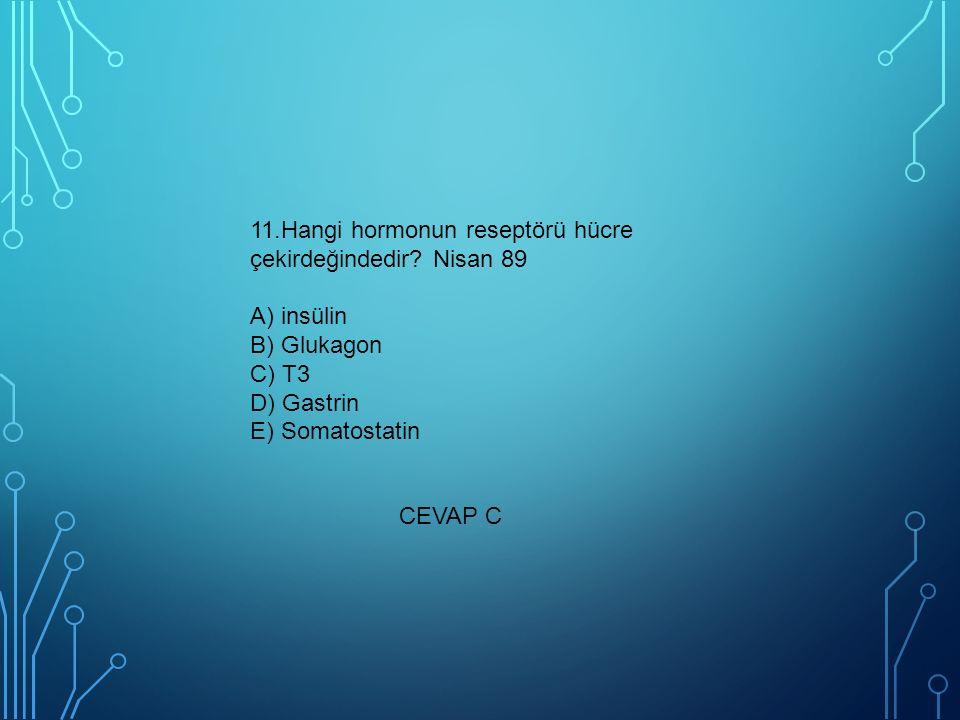 11. Hangi hormonun reseptörü hücre çekirdeğindedir