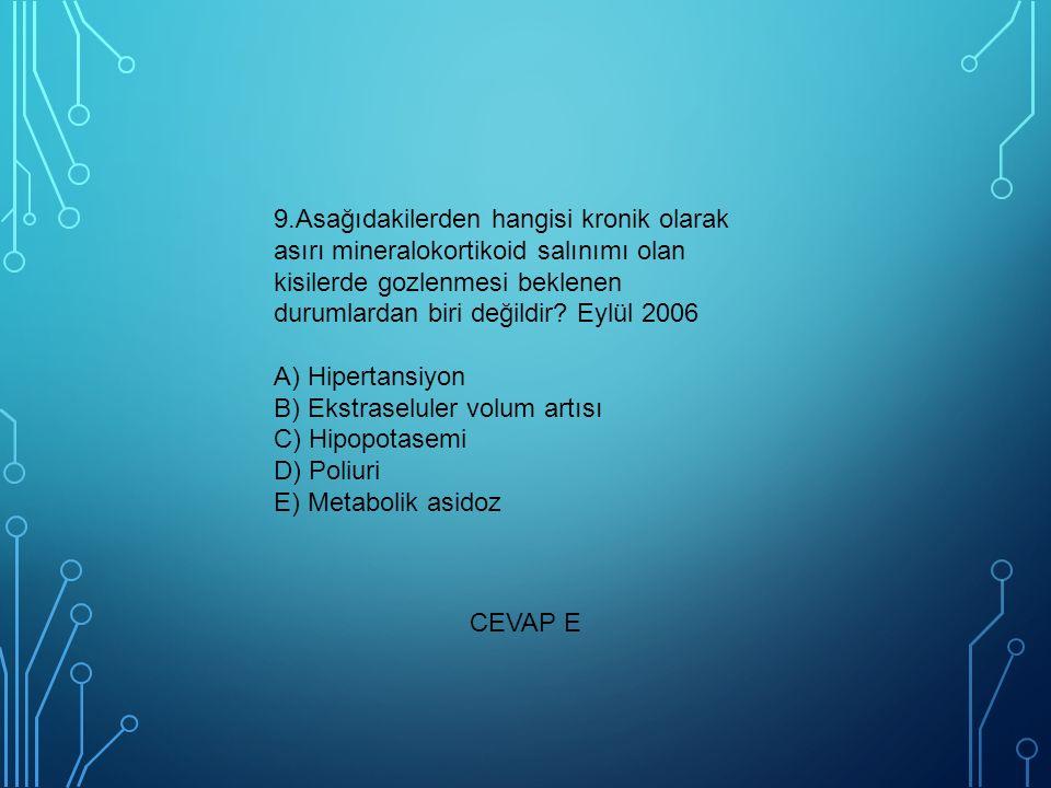 9.Asağıdakilerden hangisi kronik olarak asırı mineralokortikoid salınımı olan kisilerde gozlenmesi beklenen durumlardan biri değildir Eylül 2006 A) Hipertansiyon B) Ekstraseluler volum artısı C) Hipopotasemi D) Poliuri E) Metabolik asidoz