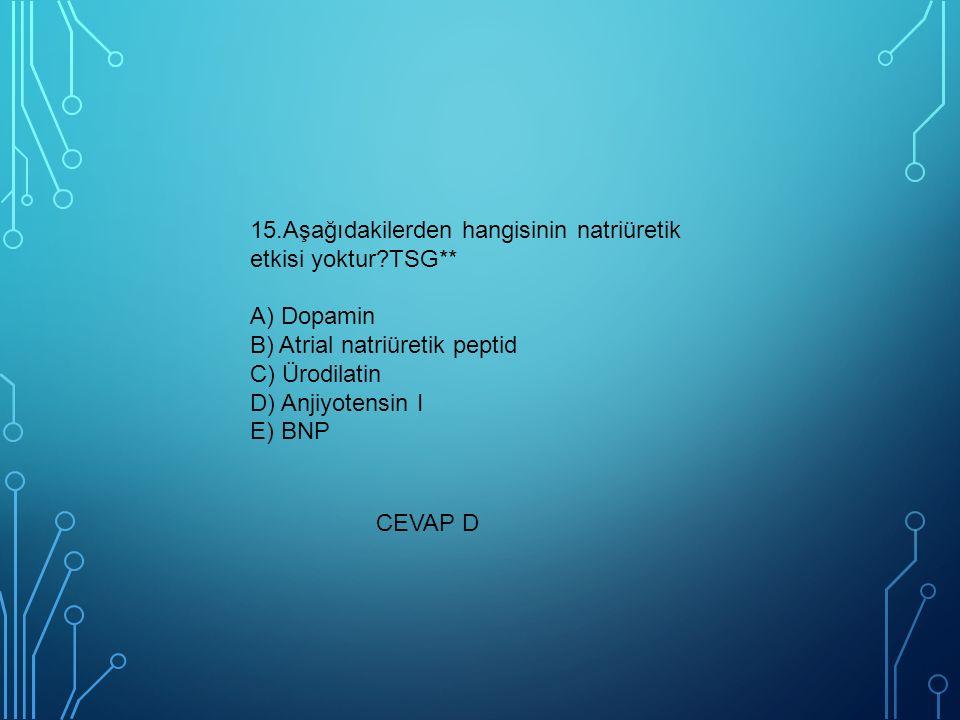 15. Aşağıdakilerden hangisinin natriüretik etkisi yoktur. TSG