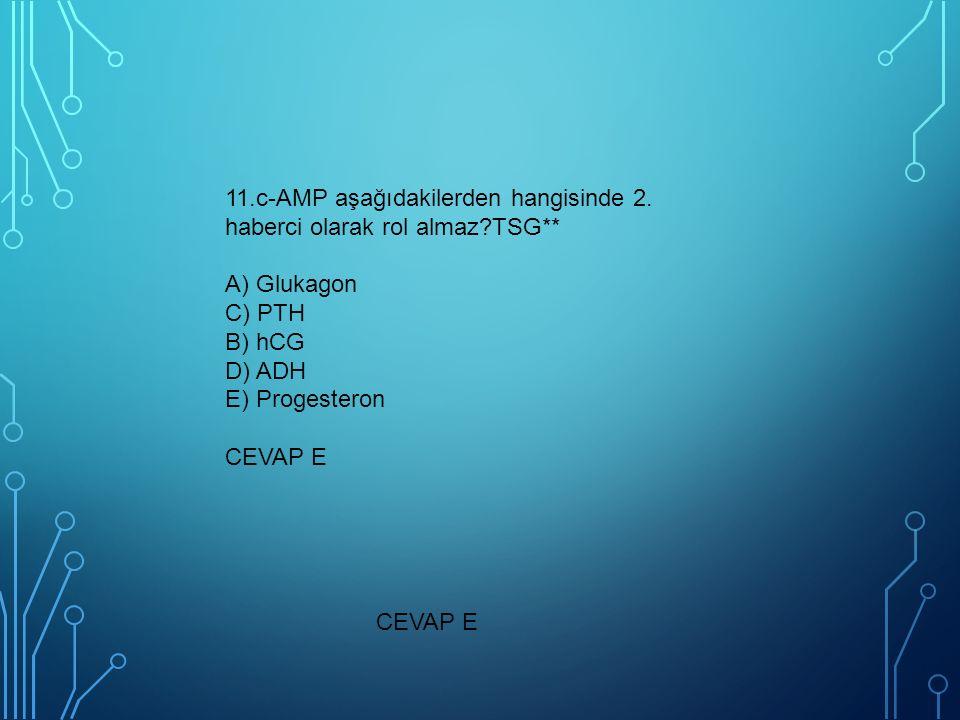 11. c-AMP aşağıdakilerden hangisinde 2. haberci olarak rol almaz. TSG