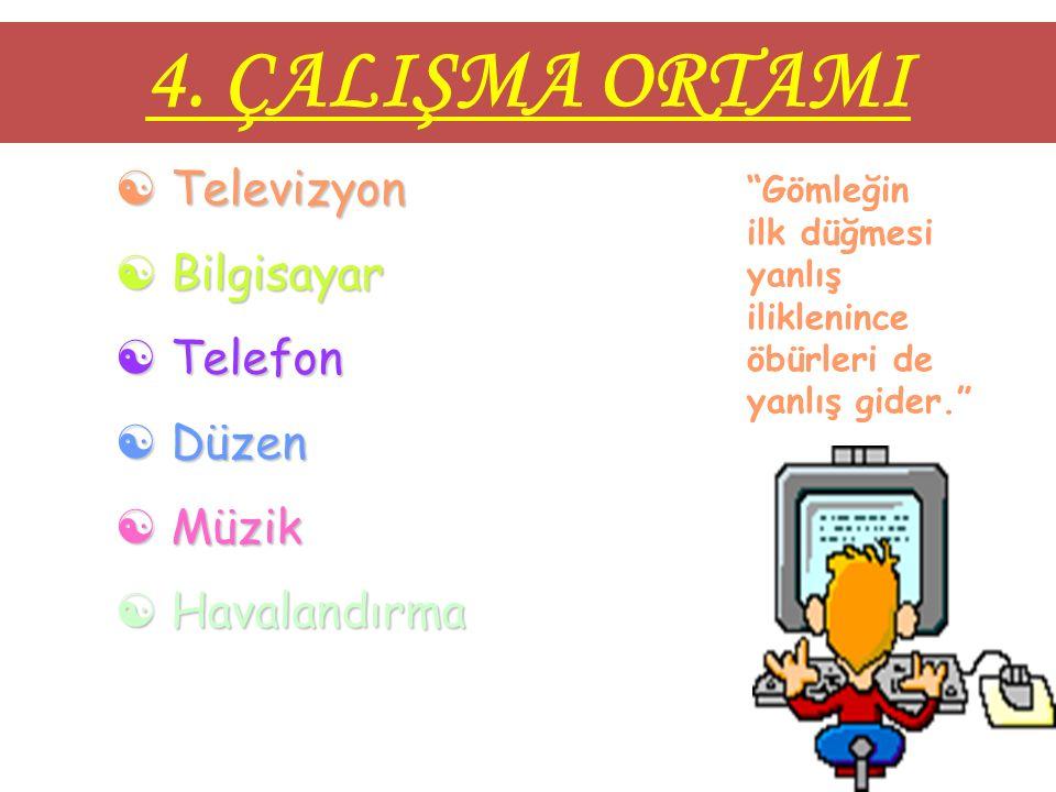 4. ÇALIŞMA ORTAMI Televizyon Bilgisayar Telefon Düzen Müzik
