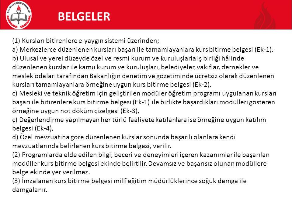 BELGELER (1) Kursları bitirenlere e-yaygın sistemi üzerinden;