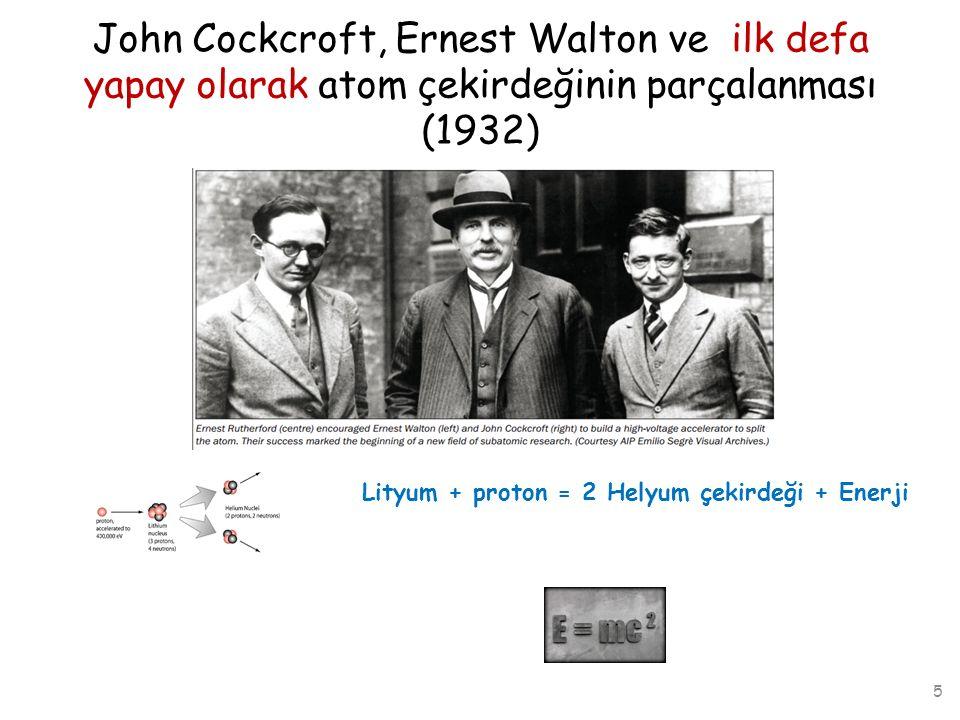 John Cockcroft, Ernest Walton ve ilk defa yapay olarak atom çekirdeğinin parçalanması (1932)
