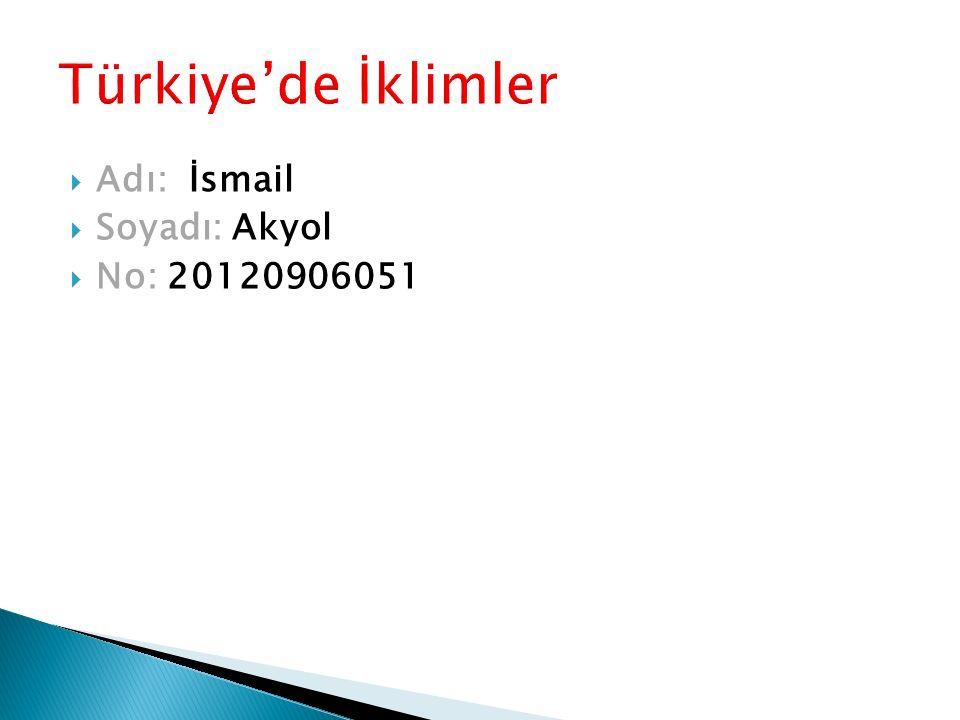 Türkiye'de İklimler Adı: İsmail Soyadı: Akyol No: 20120906051
