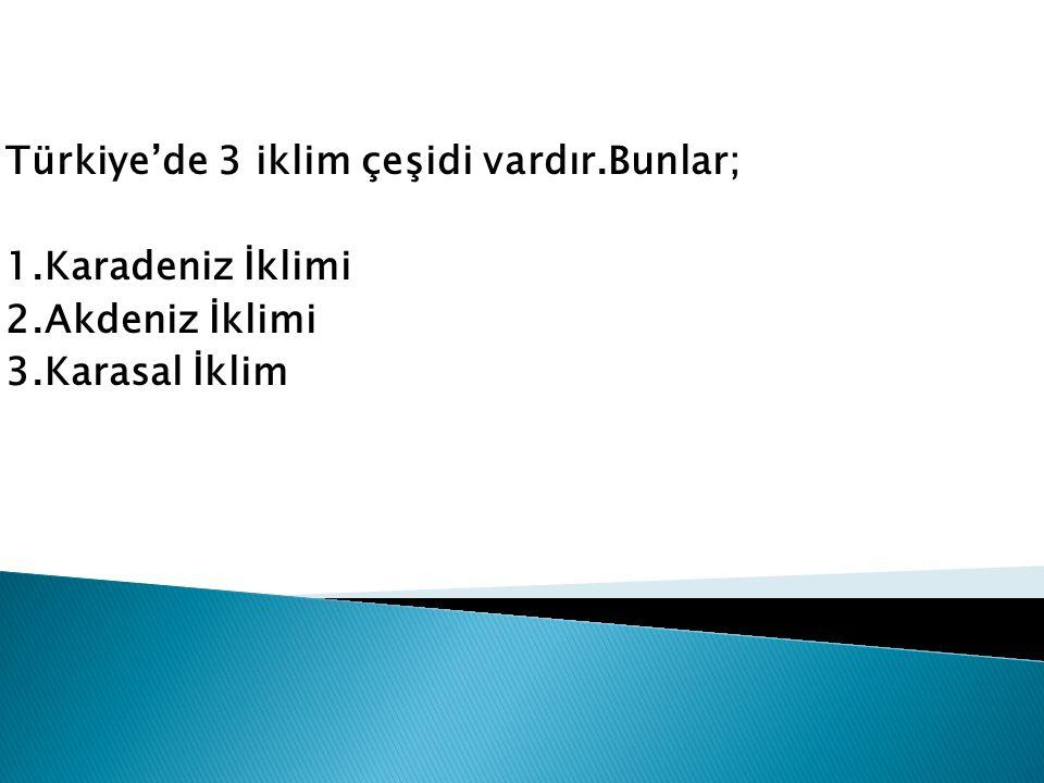 Türkiye'de 3 iklim çeşidi vardır.Bunlar;