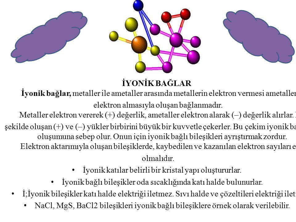 İyonik katılar belirli bir kristal yapı oluştururlar.