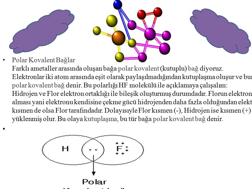 Polar Kovalent Bağlar Farklı ametaller arasında oluşan bağa polar kovalent (kutuplu) bağ diyoruz. Elektronlar iki atom arasında eşit olarak paylaşılmadığından kutuplaşma oluşur ve buna polar kovalent bağ denir. Bu polarlığı HF molekülü ile açıklamaya çalışalım: Hidrojen ve Flor elektron ortaklığı ile bileşik oluşturmuş durumdadır. Florun elektron alması yani elektronu kendisine çekme gücü hidrojenden daha fazla olduğundan elektron kısmen de olsa Flor tarafındadır. Dolayısıyle Flor kısmen (-), Hidrojen ise kısmen (+) yüklenmiş olur. Bu olaya kutuplaşma, bu tür bağa polar kovalent bağ denir.