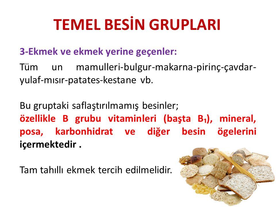 TEMEL BESİN GRUPLARI 3-Ekmek ve ekmek yerine geçenler: