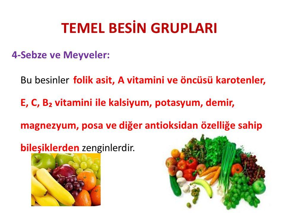 TEMEL BESİN GRUPLARI 4-Sebze ve Meyveler: