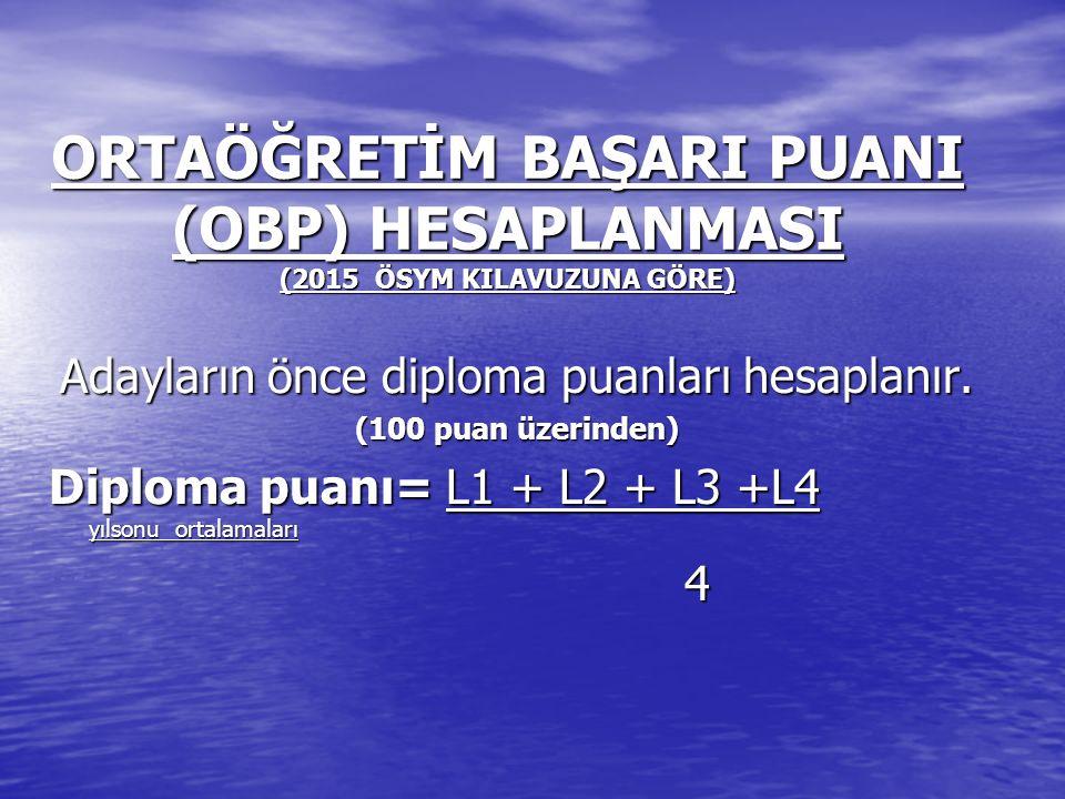 Adayların önce diploma puanları hesaplanır.