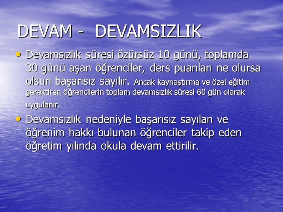 DEVAM - DEVAMSIZLIK