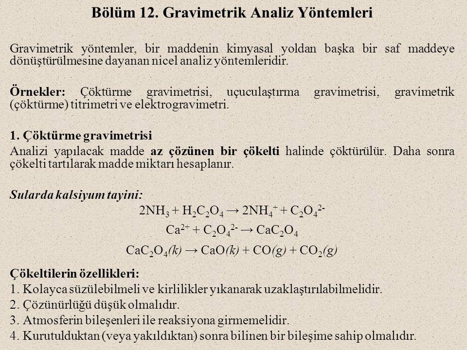 Bölüm 12. Gravimetrik Analiz Yöntemleri