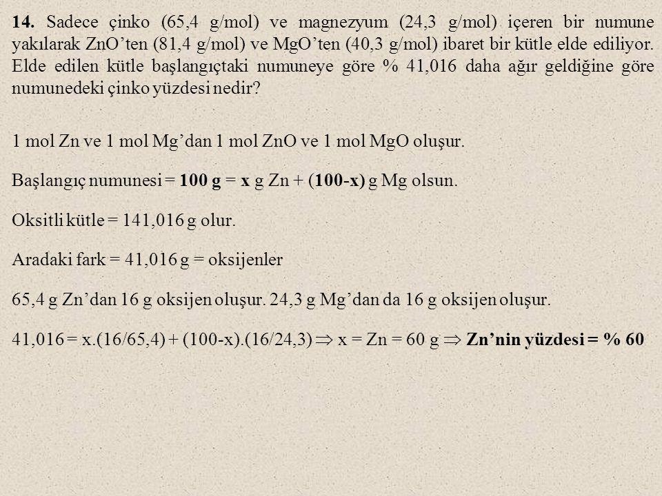 14. Sadece çinko (65,4 g/mol) ve magnezyum (24,3 g/mol) içeren bir numune yakılarak ZnO'ten (81,4 g/mol) ve MgO'ten (40,3 g/mol) ibaret bir kütle elde ediliyor. Elde edilen kütle başlangıçtaki numuneye göre % 41,016 daha ağır geldiğine göre numunedeki çinko yüzdesi nedir
