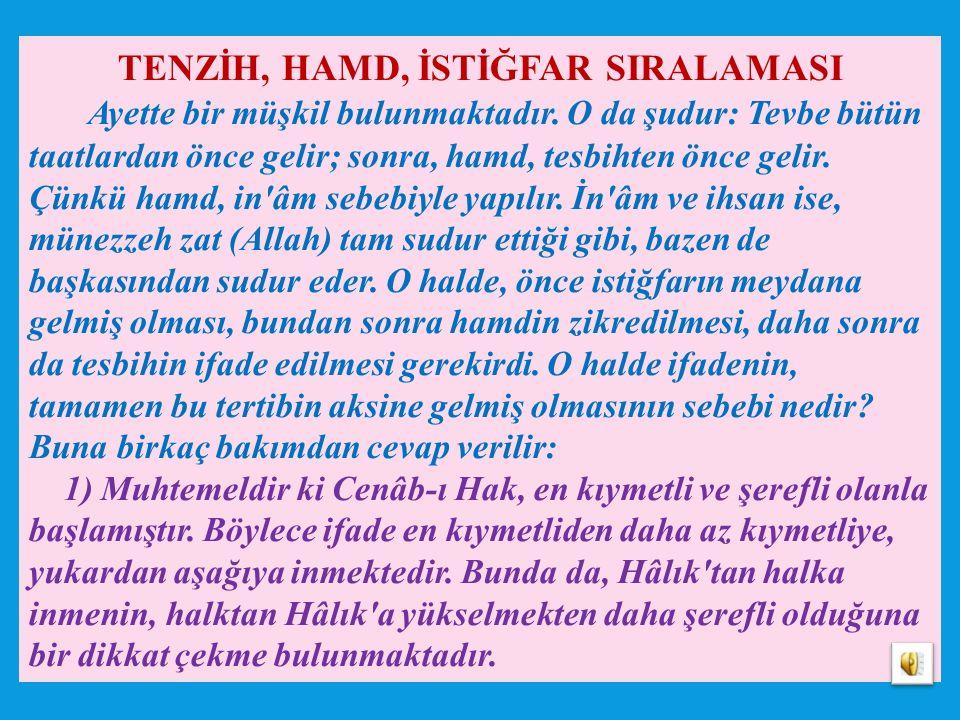 TENZİH, HAMD, İSTİĞFAR SIRALAMASI