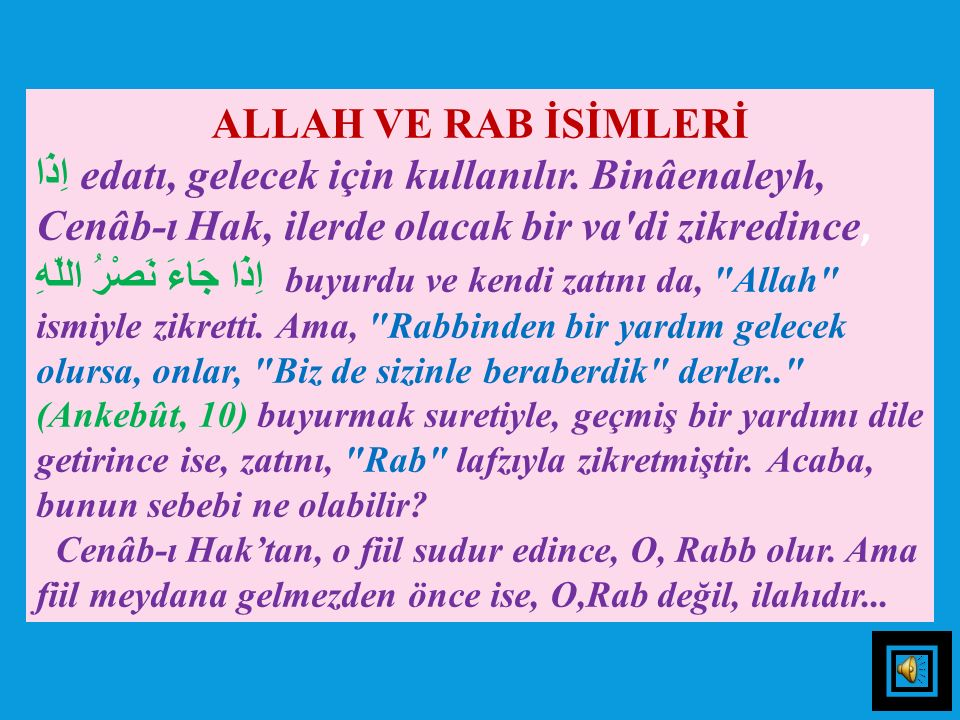 ALLAH VE RAB İSİMLERİ
