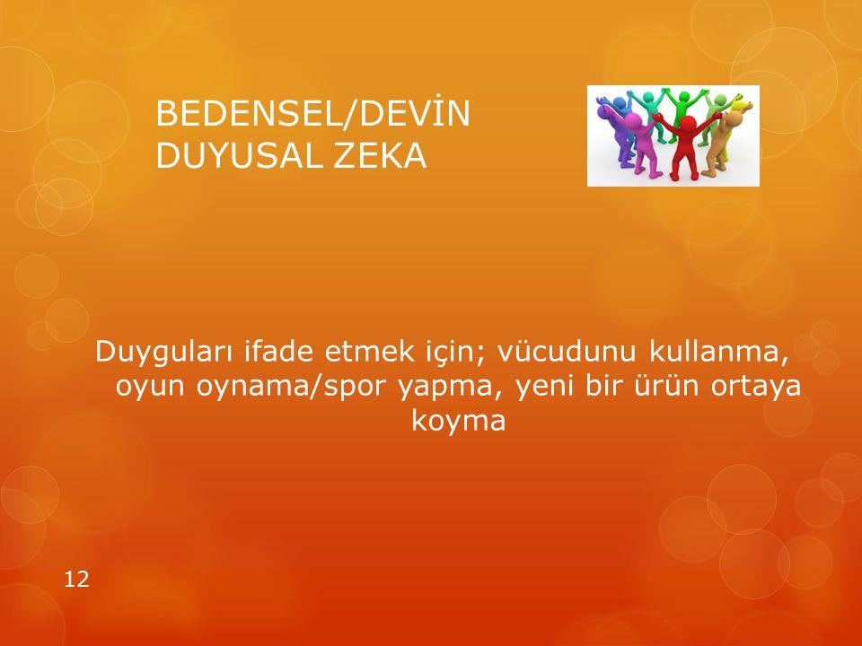 BEDENSEL/DEVİN DUYUSAL ZEKA