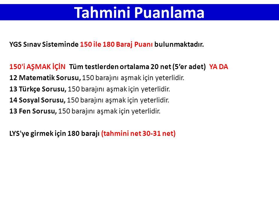 Tahmini Puanlama YGS Sınav Sisteminde 150 ile 180 Baraj Puanı bulunmaktadır. 150 i AŞMAK İÇİN Tüm testlerden ortalama 20 net (5'er adet) YA DA.