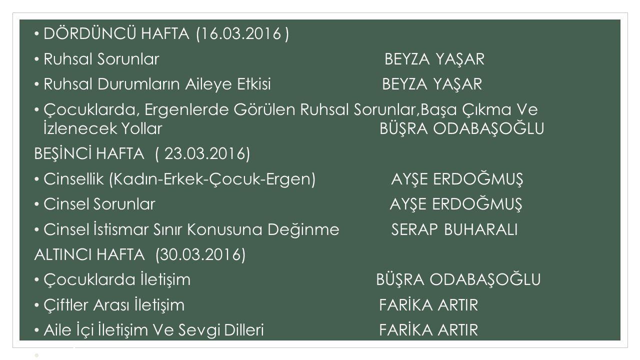 DÖRDÜNCÜ HAFTA (16.03.2016 ) Ruhsal Sorunlar BEYZA YAŞAR.