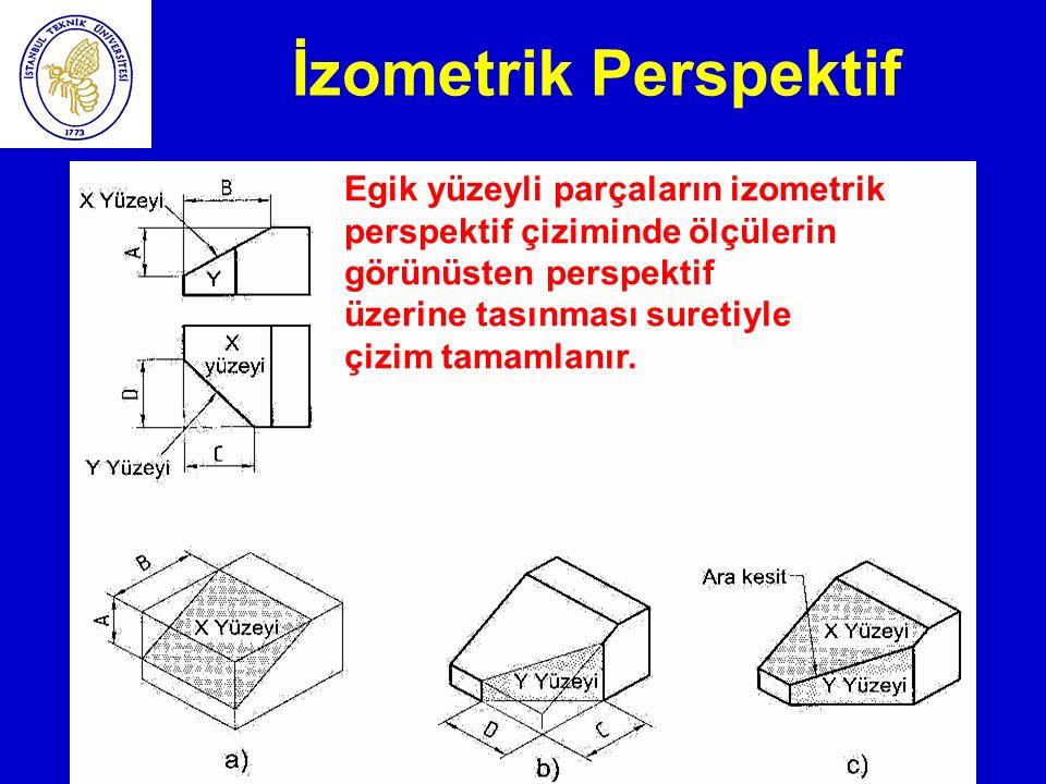 İzometrik Perspektif Egik yüzeyli parçaların izometrik perspektif çiziminde ölçülerin görünüsten perspektif.