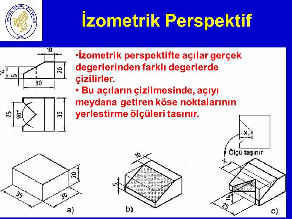 İzometrik Perspektif İzometrik perspektifte açılar gerçek degerlerinden farklı degerlerde çizilirler.
