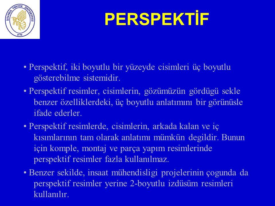 PERSPEKTİF • Perspektif, iki boyutlu bir yüzeyde cisimleri üç boyutlu gösterebilme sistemidir.