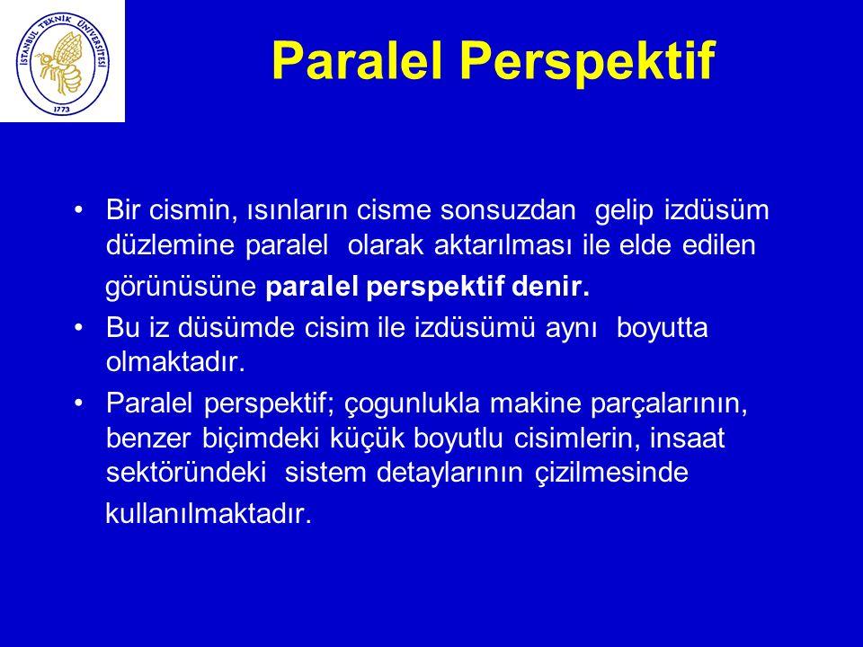 Paralel Perspektif Bir cismin, ısınların cisme sonsuzdan gelip izdüsüm düzlemine paralel olarak aktarılması ile elde edilen.