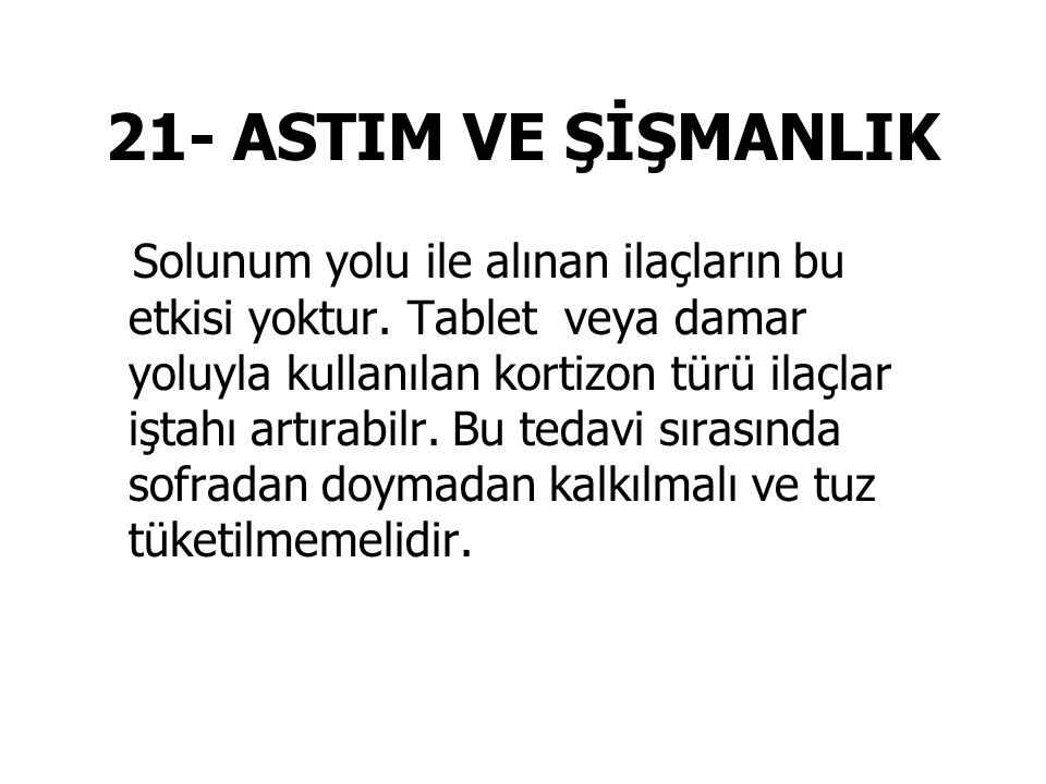 21- ASTIM VE ŞİŞMANLIK