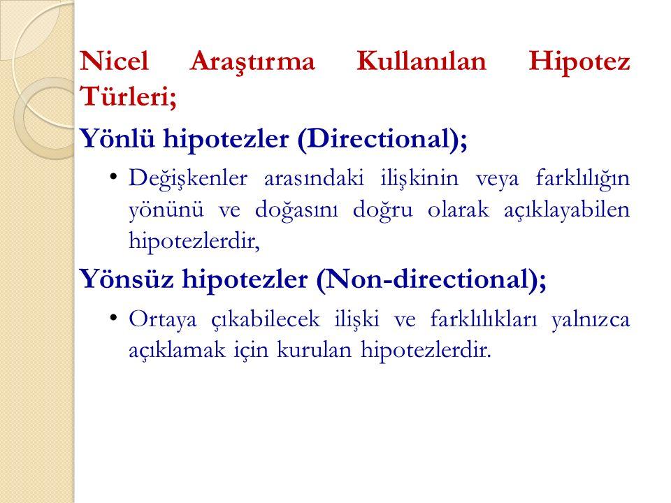 Nicel Araştırma Kullanılan Hipotez Türleri;