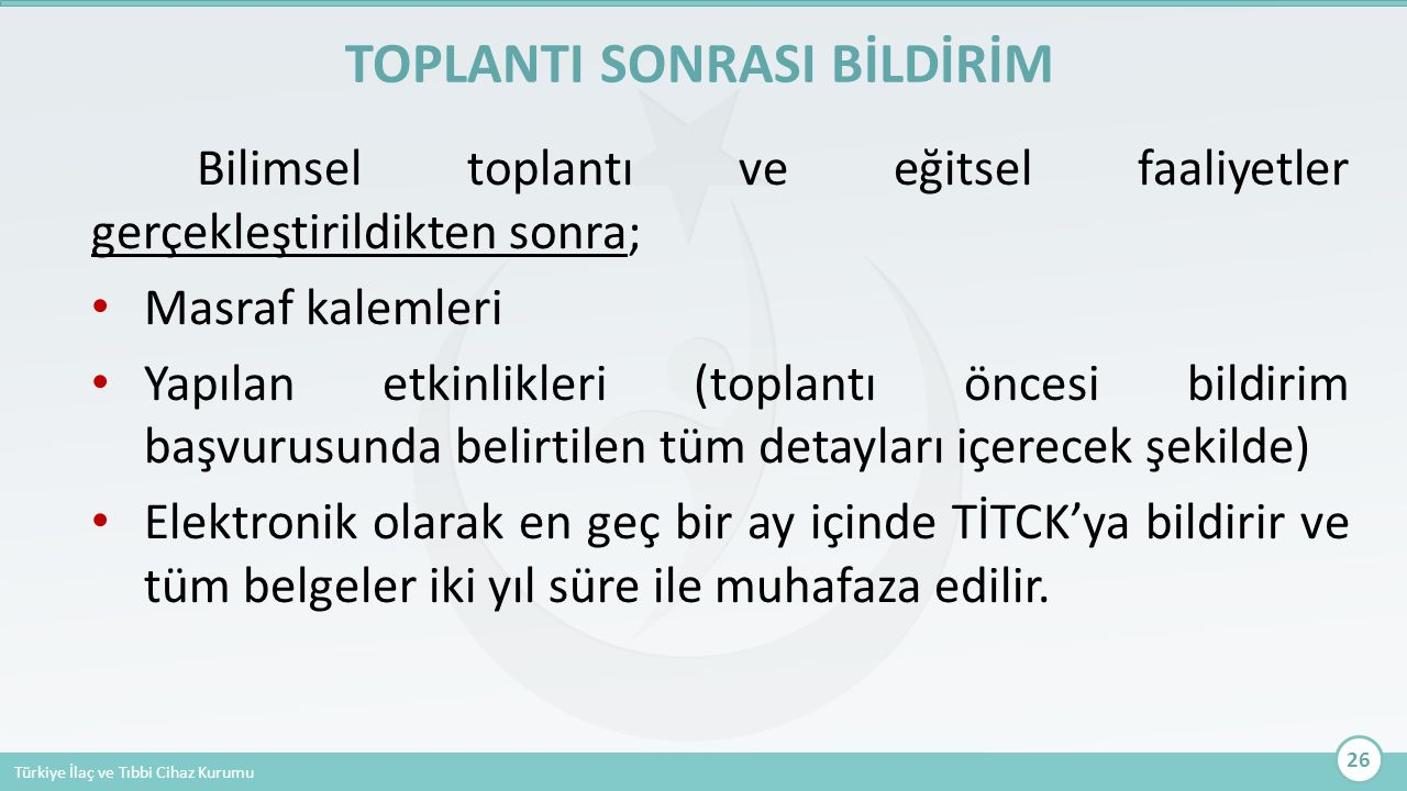 TOPLANTI SONRASI BİLDİRİM