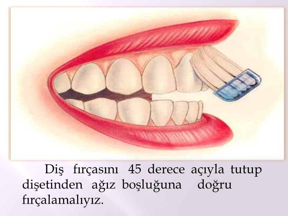 Diş fırçasını 45 derece açıyla tutup