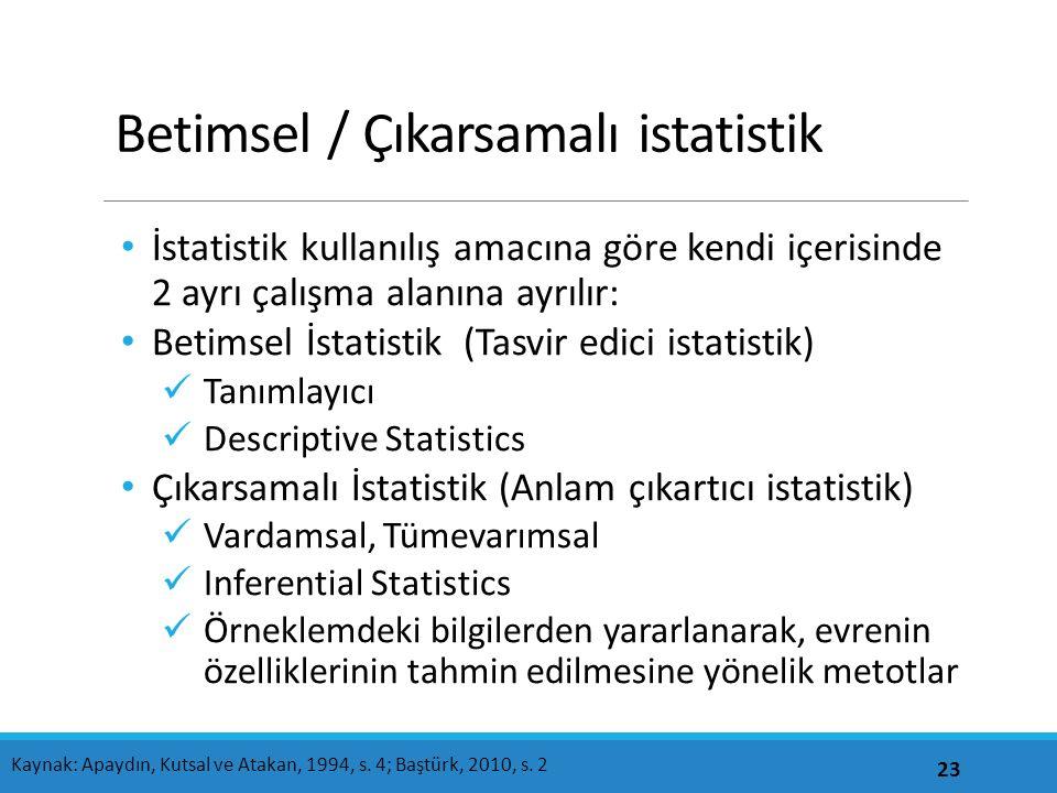 Betimsel / Çıkarsamalı istatistik