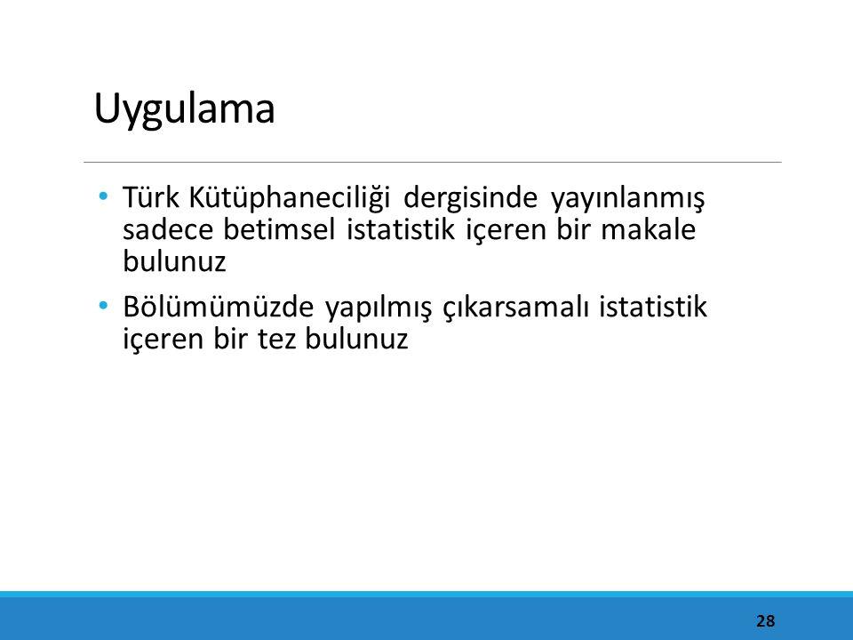Uygulama Türk Kütüphaneciliği dergisinde yayınlanmış sadece betimsel istatistik içeren bir makale bulunuz.