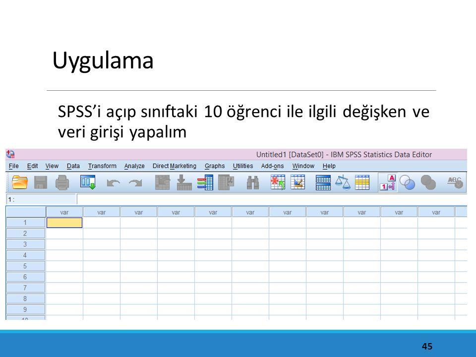 Uygulama SPSS'i açıp sınıftaki 10 öğrenci ile ilgili değişken ve veri girişi yapalım