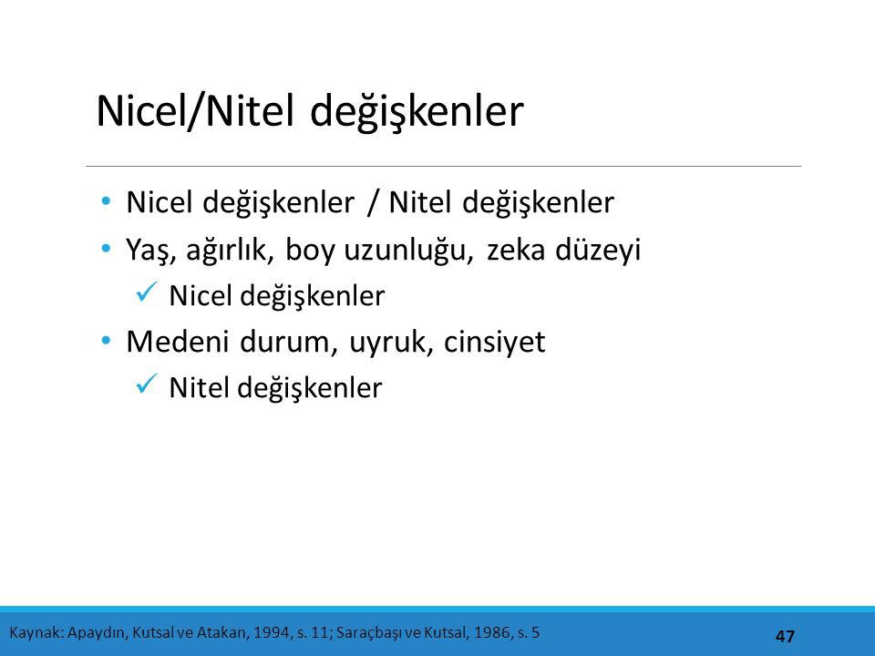 Nicel/Nitel değişkenler