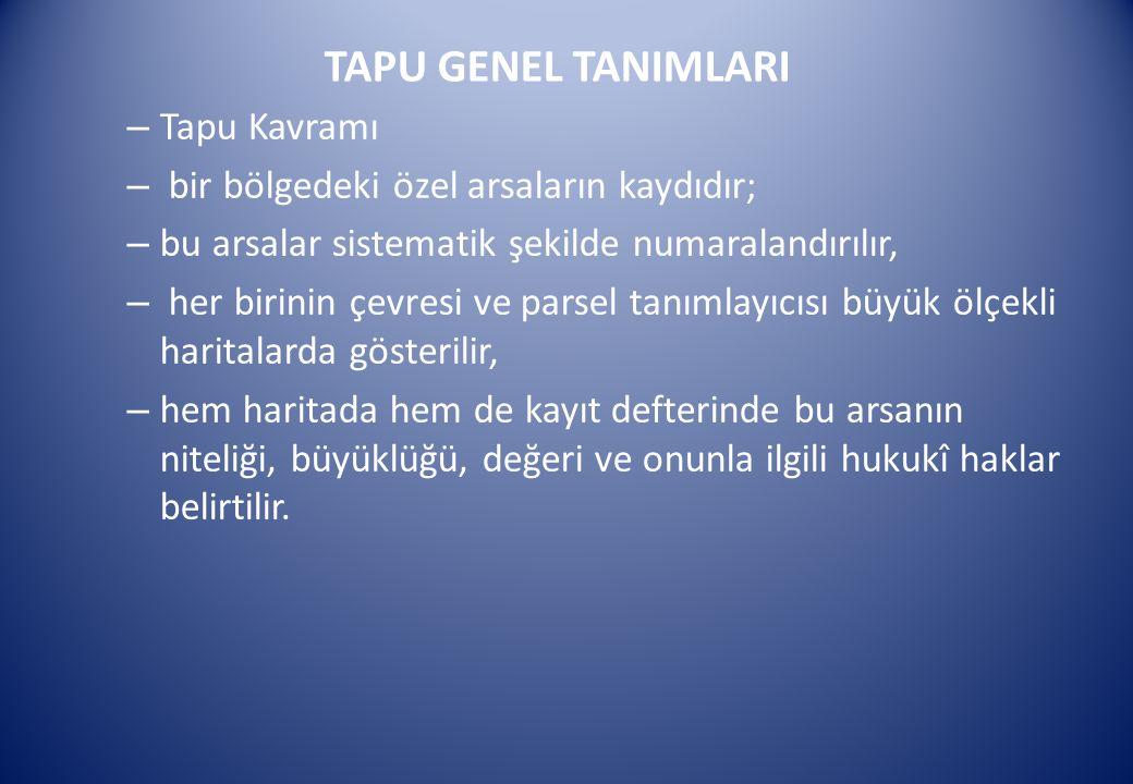 TAPU GENEL TANIMLARI Tapu Kavramı