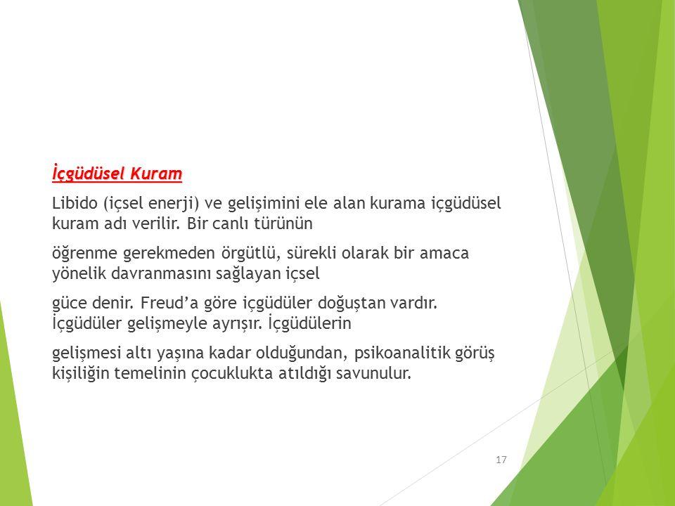 İçgüdüsel Kuram Libido (içsel enerji) ve gelişimini ele alan kurama içgüdüsel kuram adı verilir.