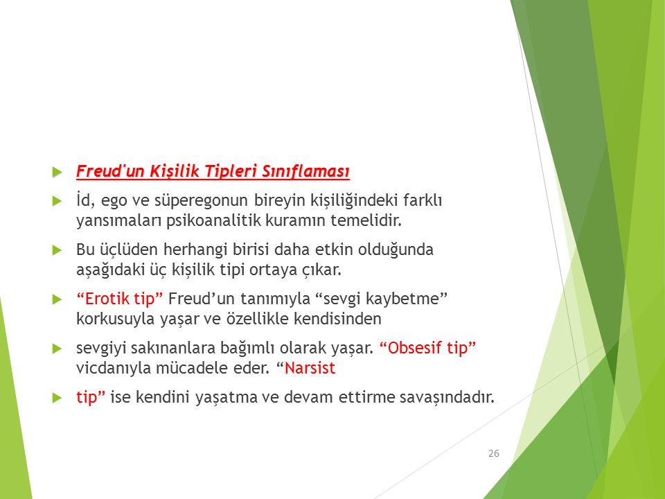 Freud un Kişilik Tipleri Sınıflaması