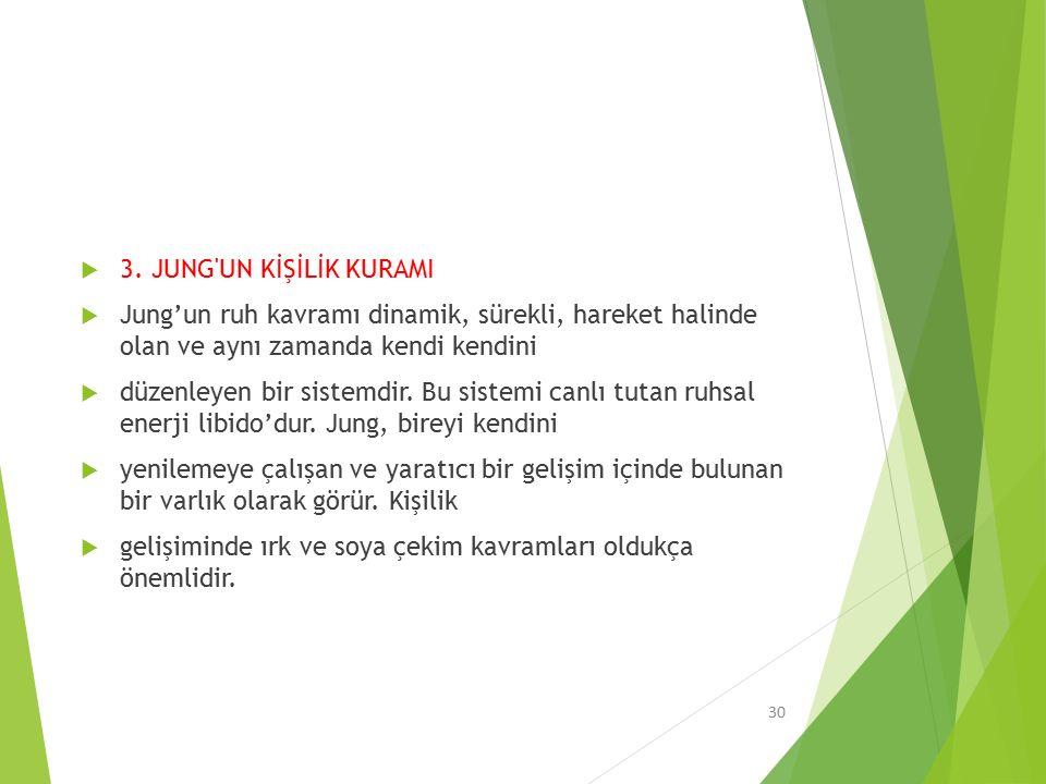 3. JUNG UN KİŞİLİK KURAMI Jung'un ruh kavramı dinamik, sürekli, hareket halinde olan ve aynı zamanda kendi kendini.