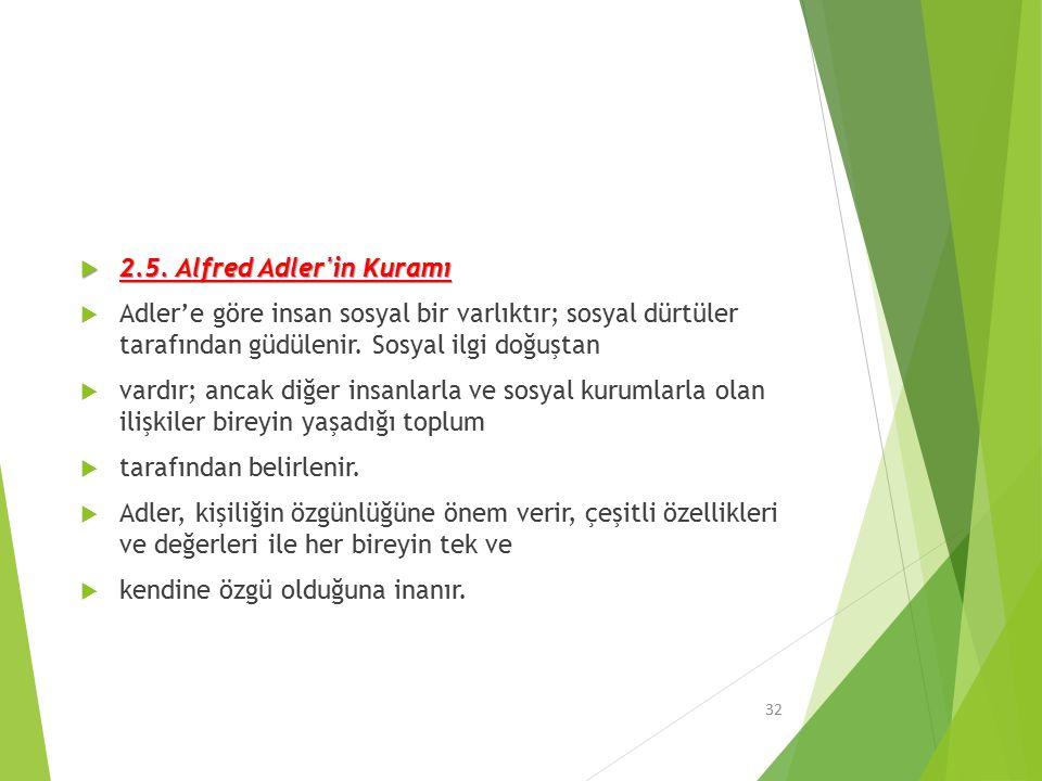 2.5. Alfred Adler in Kuramı Adler'e göre insan sosyal bir varlıktır; sosyal dürtüler tarafından güdülenir. Sosyal ilgi doğuştan.