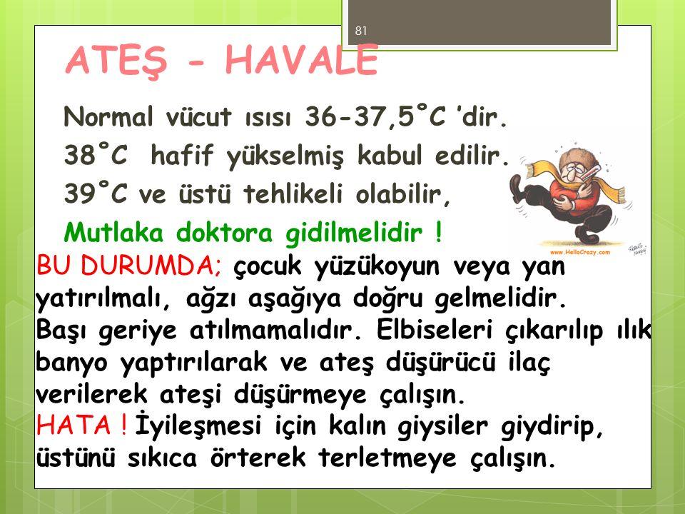 ATEŞ - HAVALE Normal vücut ısısı 36-37,5˚C 'dir. 38˚C hafif yükselmiş kabul edilir. 39˚C ve üstü tehlikeli olabilir, Mutlaka doktora gidilmelidir !