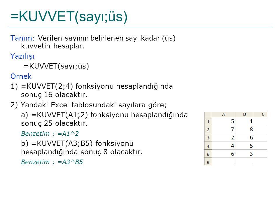 =KUVVET(sayı;üs) Tanım: Verilen sayının belirlenen sayı kadar (üs) kuvvetini hesaplar. Yazılışı. =KUVVET(sayı;üs)