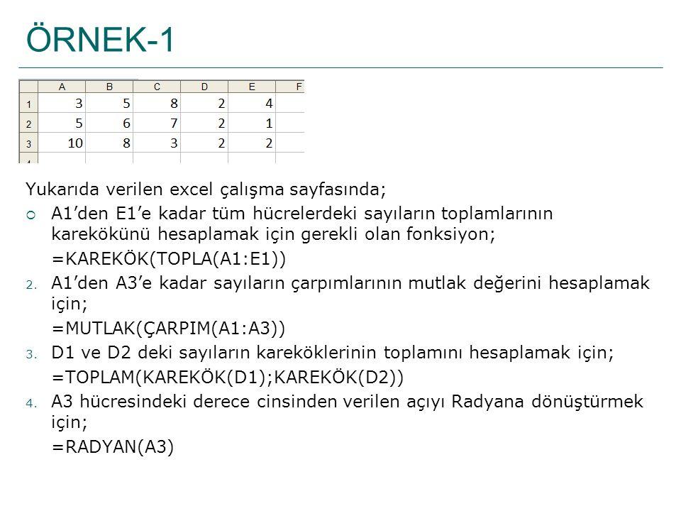 ÖRNEK-1 Yukarıda verilen excel çalışma sayfasında;