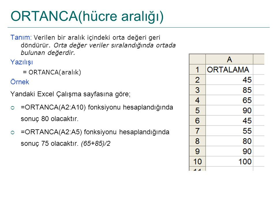 ORTANCA(hücre aralığı)