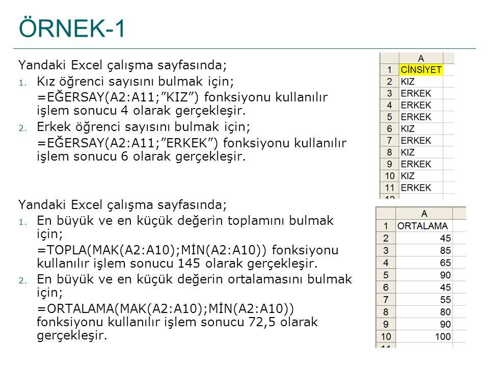 ÖRNEK-1 Yandaki Excel çalışma sayfasında;