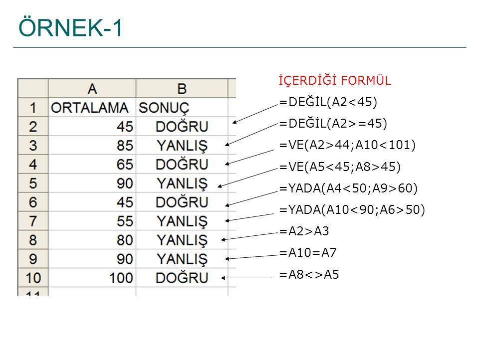 ÖRNEK-1 İÇERDİĞİ FORMÜL =DEĞİL(A2<45) =DEĞİL(A2>=45)
