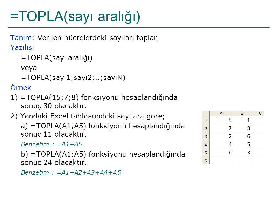 =TOPLA(sayı aralığı) Tanım: Verilen hücrelerdeki sayıları toplar.