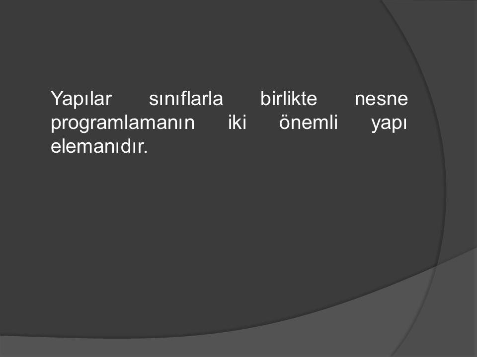 Yapılar sınıflarla birlikte nesne programlamanın iki önemli yapı elemanıdır.