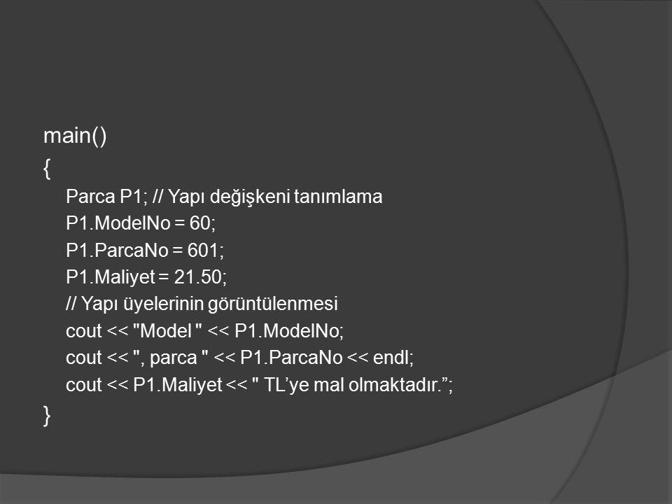 main() { } Parca P1; // Yapı değişkeni tanımlama P1.ModelNo = 60;